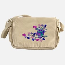 Aqua Hibiscus Owl in Tree Messenger Bag