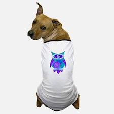 Aqua Hibiscus Owl Dog T-Shirt