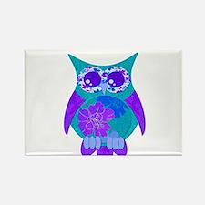 Aqua Hibiscus Owl Rectangle Magnet