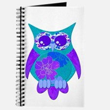 Aqua Hibiscus Owl Journal