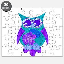 Aqua Hibiscus Owl Puzzle