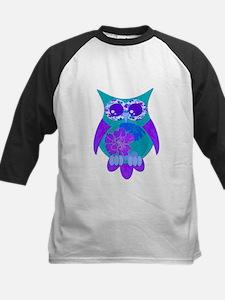 Aqua Hibiscus Owl Kids Baseball Jersey