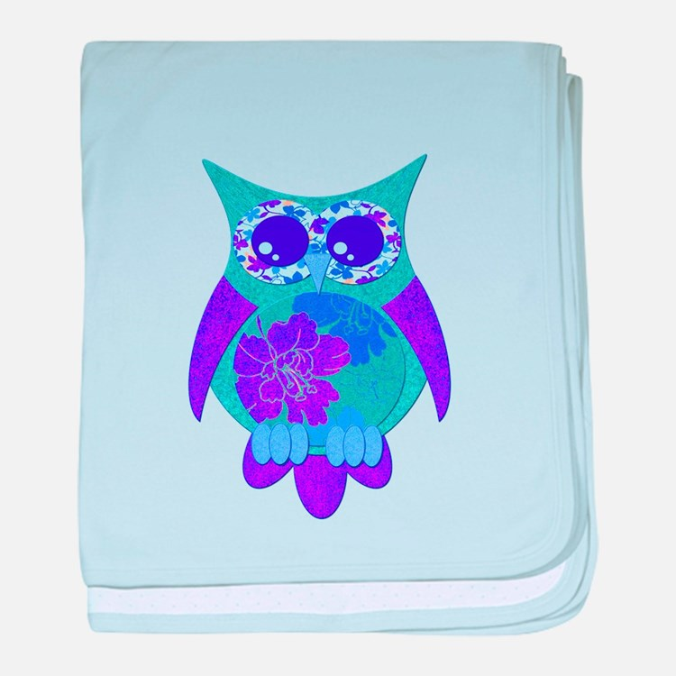 Aqua Hibiscus Owl baby blanket