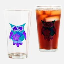 Aqua Hibiscus Owl Drinking Glass