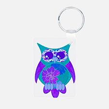 Aqua Hibiscus Owl Keychains