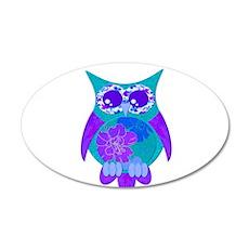 Aqua Hibiscus Owl 22x14 Oval Wall Peel