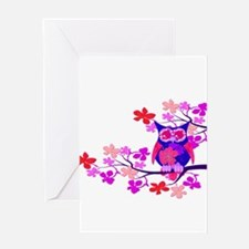 Pink Hibiscus Owl in Tree Greeting Card