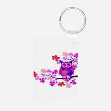 Pink Hibiscus Owl in Tree Keychains