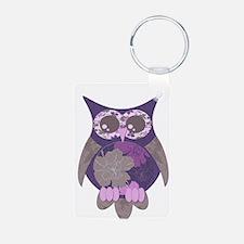 Purple Hibiscus Owl Keychains