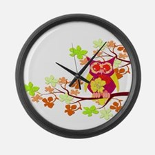 Yellow Hibiscus Owl in Tree Large Wall Clock