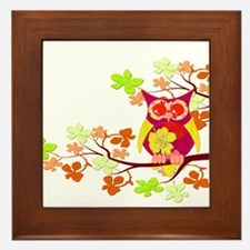 Yellow Hibiscus Owl in Tree Framed Tile