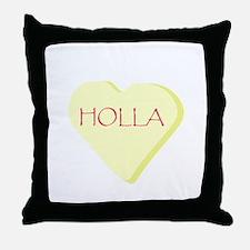 Holla Yellow Heart Candy Throw Pillow