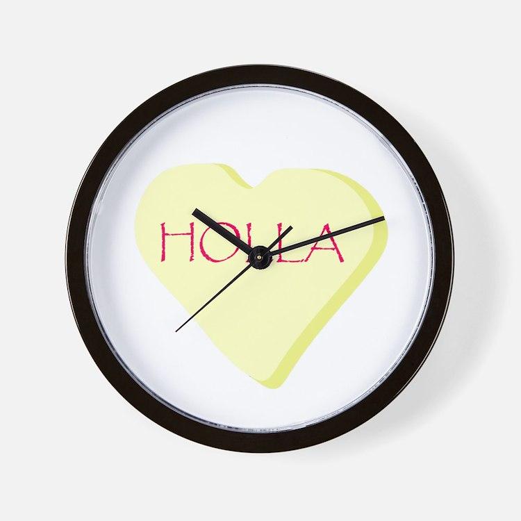 Holla Yellow Heart Candy Wall Clock