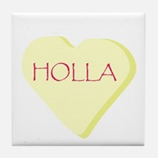 Holla Yellow Heart Candy Tile Coaster