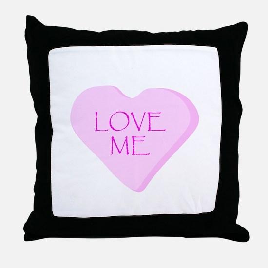 Love Me Candy Heart Throw Pillow