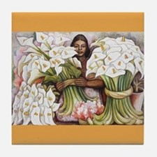 Diego Rivera Girl Selling Cala Art Tile Coaster