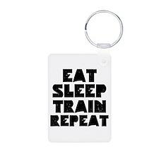 EAT SLEEP TRAIN REPEAT Keychains