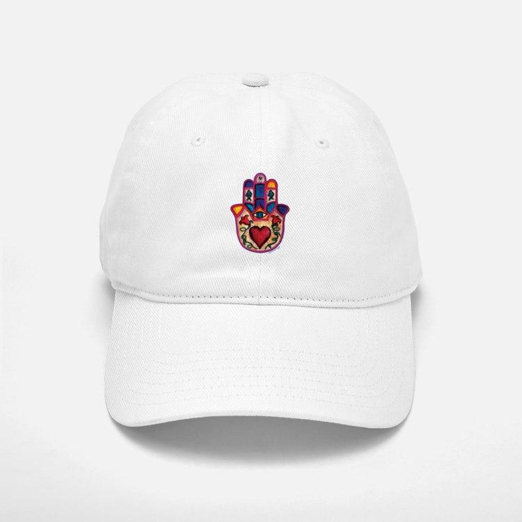White Baseball Baseball Cap with Heart Hamsa