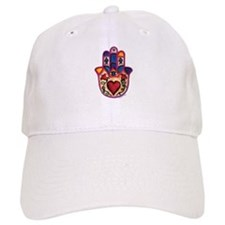 White Baseball Cap with Heart Hamsa