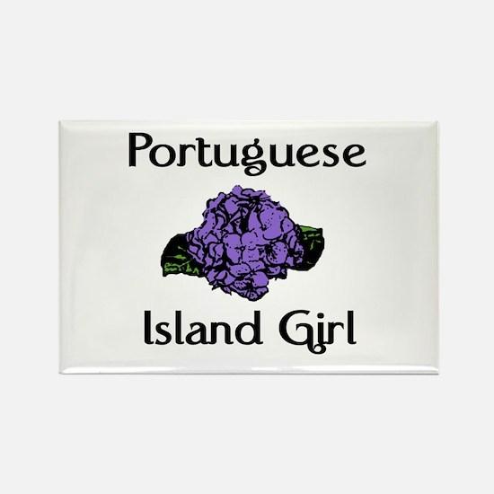 Portuguese Island Girl-Blue Rectangle Magnet