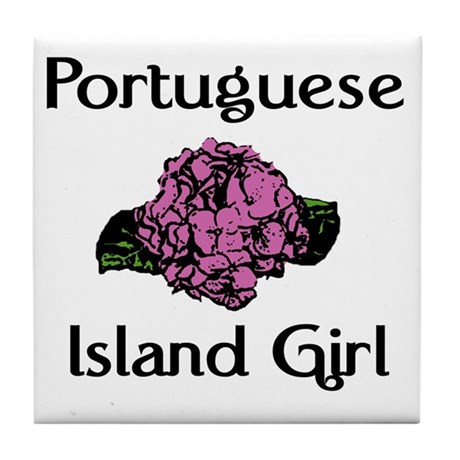 Portuguese Island Girl-Pink H Tile Coaster