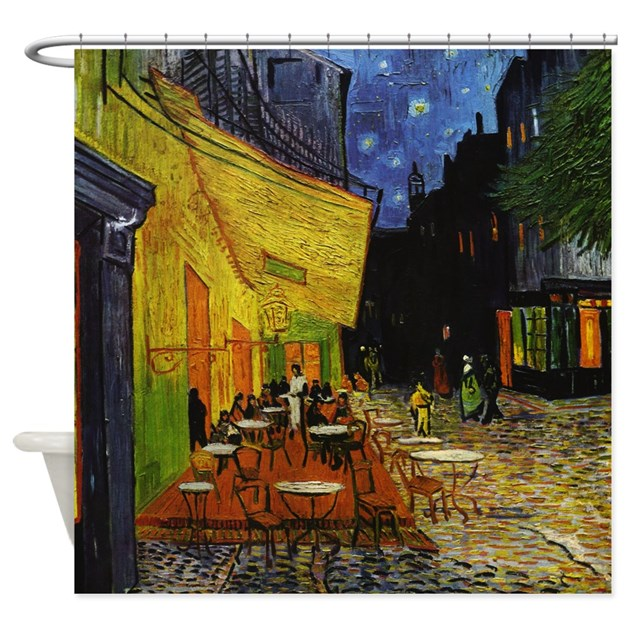 Van gogh cafe terrace at night shower curtain by iloveyou1 for 43591 white cap terrace