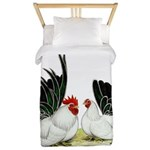 Japanese Black White Bantams Twin Duvet