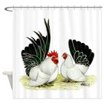 Japanese Black White Bantams Shower Curtain