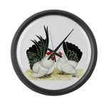 Japanese Black White Bantams Large Wall Clock