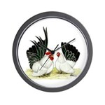 Japanese Black White Bantams Wall Clock