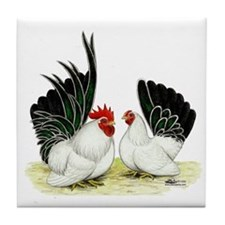Japanese Black White Bantams Tile Coaster