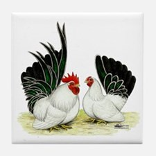 Japanese Black White Bantams Tile Coaster