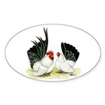 Japanese Black White Bantams Sticker (Oval 50 pk)