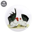 "Japanese Black White Bantams 3.5"" Button (10"