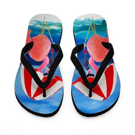 Flamingo Beach Wine Flip Flops