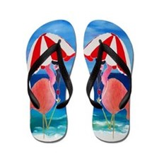 Flamingo Beach Wine Flip Flops