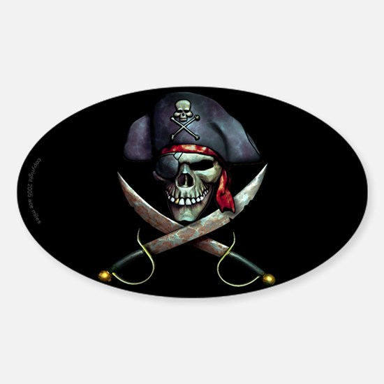 pirate skull -blackSticker (Oval)