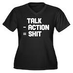Talk - Action = Shit Women's Plus Size V-Neck Dark