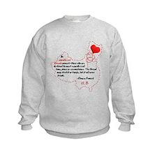 Red Thread on Light Sweatshirt