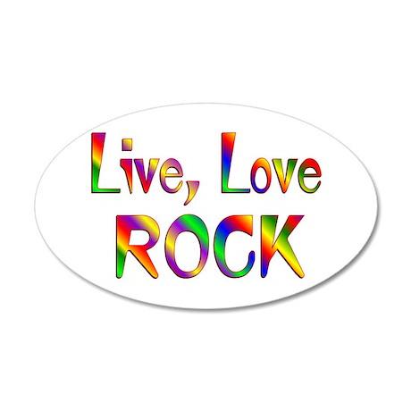 Live Love Rock 38.5 x 24.5 Oval Wall Peel