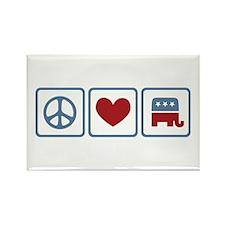 Peace Love Republicans Rectangle Magnet (100 pack)