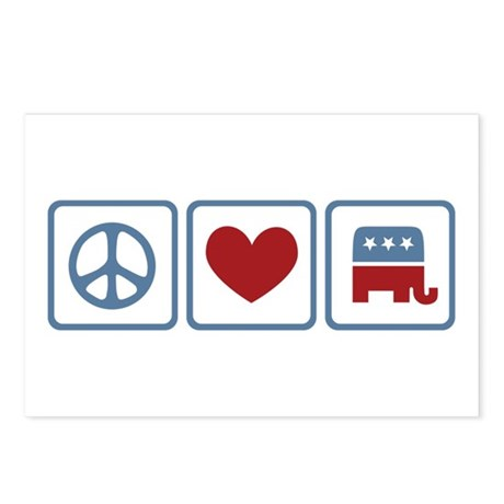 Peace Love Republicans Postcards (Package of 8)