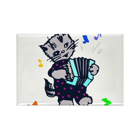 Retro Accordion Kitten Rectangle Magnet