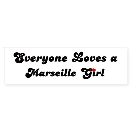 Loves Marseille Girl Bumper Sticker