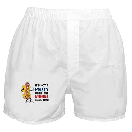 Not A Party Until Wieners Boxer Shorts
