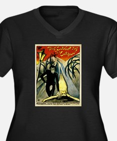 Doctor Caligari Women's Plus Size V-Neck Dark T-Sh