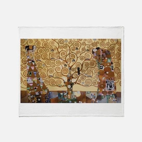 Gustav Klimt Tree Of Life Throw Blanket