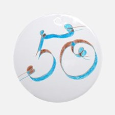 50 - Pencil - Blue and Brown Ornament (Round)