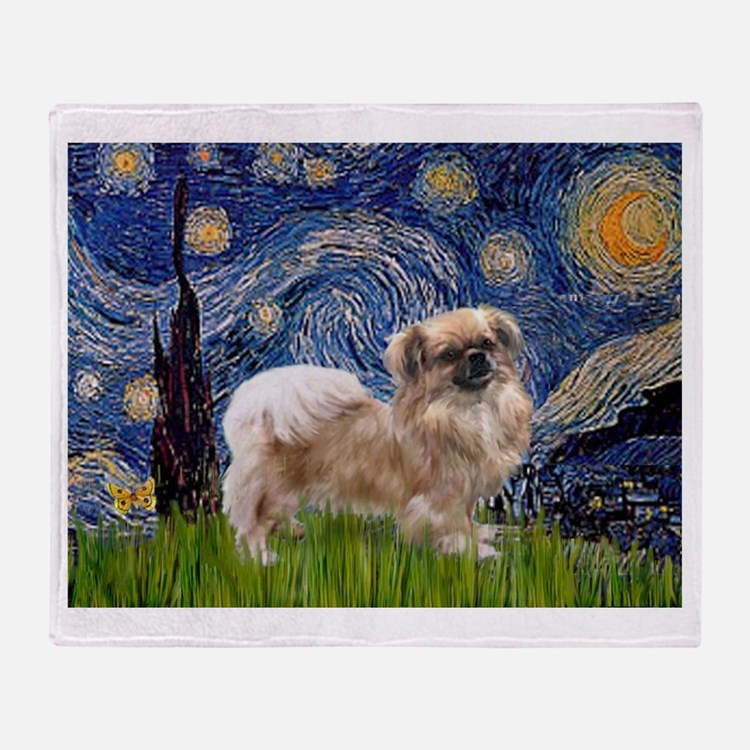 Starry / Tibetan Spaniel Throw Blanket