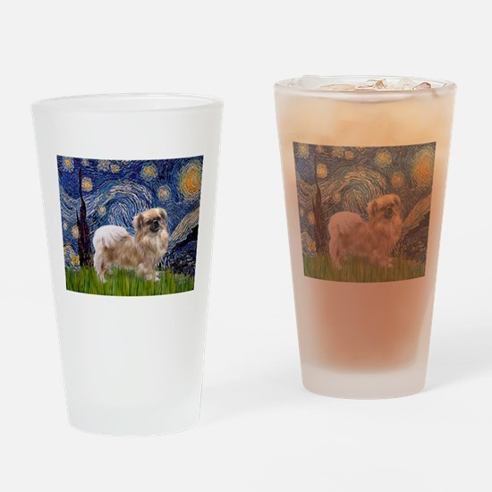 Starry / Tibetan Spaniel Drinking Glass